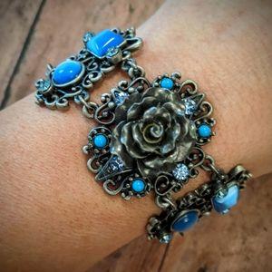 New Blue Stone With Gray Roses Gun Metal Bracelet